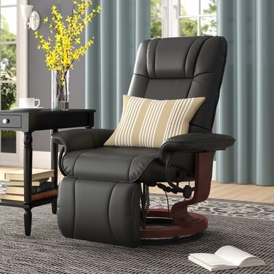 """Thumbnail for your product : Winston Porter Wilde 30.75"""" Wide Faux Leather Manual Swivel Ergonomic Recliner"""