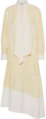 Tibi Tie-neck Cady-paneled Satin-jacquard Midi Dress