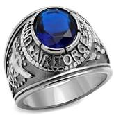 WBI US Air Force Ring 316L Stainless Steel Blue CZ Stone USAF Size 8 - 14