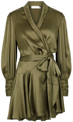 Zimmermann Olive Silk-satin Wrap Dress