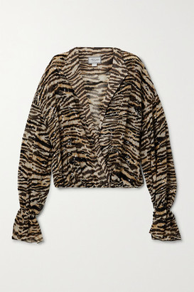 Redemption Sequin-embellished Tiger-print Chiffon Blouse - Beige