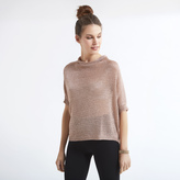 Apricot Nude Metallic High Neck Oversized Jumper