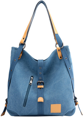 Ella & Elly Women's Handbags Blue - Blue Buckle-Front Tote
