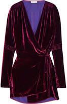 ATTICO Crushed-velvet Wrap Mini Dress - Grape