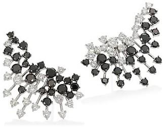 Hueb White & Black Diamond 18K White Gold Ear Crawler Earrings