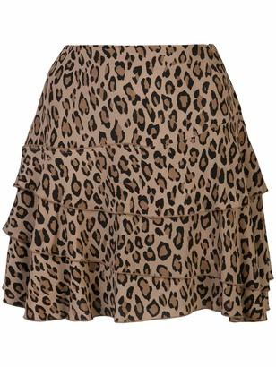 R 13 Mini Flounce Leopard Layered Skirt
