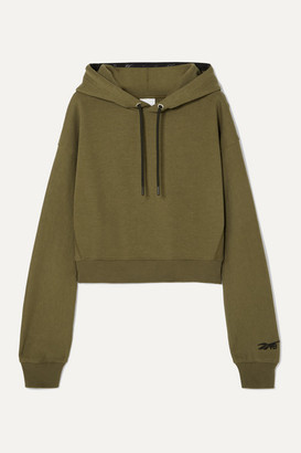 Reebok x Victoria Beckham Cropped Embroidered Cotton-jersey Hoodie - Army green