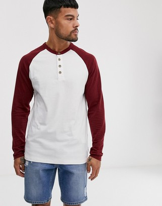 ONLY & SONS raglan grandad long sleeve top in red