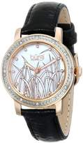Burgi Women's BUR096RG Rose Gold Quartz Watch with White Mother of Pearl Landscape Dial With Black Leather Strap