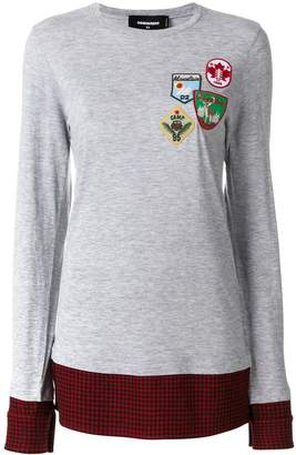 DSQUARED2 flannel-panelled sweatshirt
