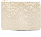 Comme des Garcons Star Embossed Pouch in White.