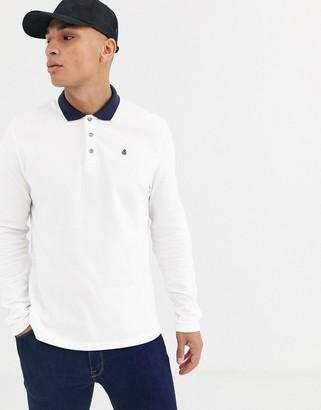 Burton Menswear long sleeve polo in white