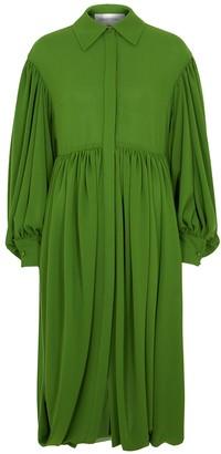 Valentino Green draped gathered shirt dress