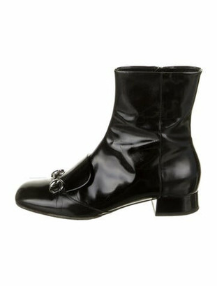 Gucci 1955 Horsebit Accent Patent Leather Boots Black