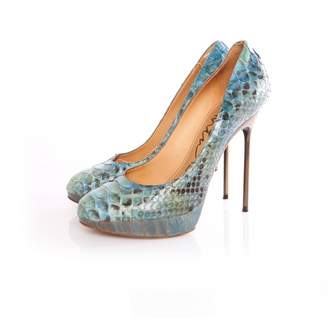 Lanvin Turquoise Python Heels