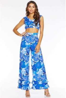 Quiz Royal Blue Floral Frill Hem Palazzo Trousers