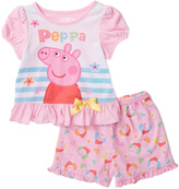 Komar Kids Pink Peppa Pig Shorts Pajama Set - Toddler