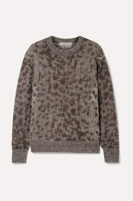 Sea Jacquard-knit Sweater - Brown