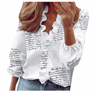Tooth Women's Long Sleeve Tops Ruffle V-Neck Solid Print Blouse Ladies Summer Dressy T Shirt Tops S-3XL(White L)