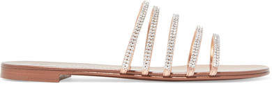 Giuseppe Zanotti Nuvoroll Crystal-embellished Metallic Leather Slides - Copper