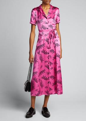 HVN Maria Long Button-Down Pajama Dress w/ Belt