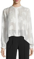 Elizabeth and James Long-Sleeve Silk Burnout Blouse, White