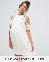 Asos Embelished Cold Shoulder Mini Dress