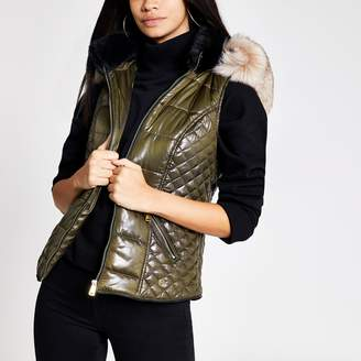 River Island Womens Khaki faux fur hood padded gilet