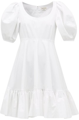 Alexander McQueen Puff-sleeve Gathered Cotton Mini Dress - White