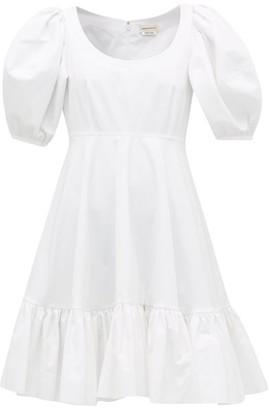Alexander McQueen Puff-sleeve Gathered Cotton Mini Dress - Womens - White