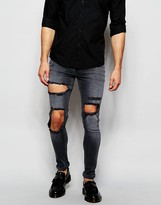 Asos Extreme Super Skinny Jeans With Open Rips In Washed Black - Black