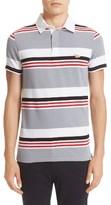 MAISON KITSUNÉ Men's Stripe Cotton & Linen Polo