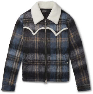 Amiri Shearling-Trimmed Checked Mohair-Blend Jacket