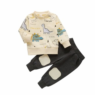 SUSSURRO Toddler Baby Boy Outfit Kid Boys Long Sleeve Dinosaur Pant Set Clothes