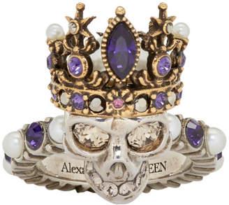 Alexander McQueen Silver and Gold Queen Skull Ring