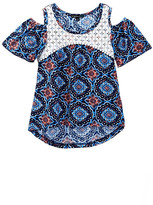 My Michelle mymichelle Lace Yoke Cold Shoulder Top (Big Girls)