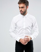 HUGO BOSS Hugo By Esid Pleat Collar Shirt Slim Fit Concealed Placket