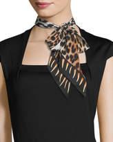 Rockins Leopard Teeth Super Skinny Silk Scarf, Gold
