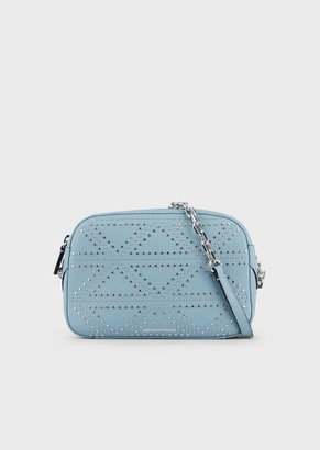 Emporio Armani Deer-Print Leather Mini Bag With Shoulder Strap With Decorative Studs