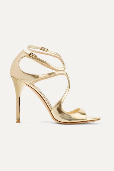 Jimmy Choo Lang 100 Metallic Leather Sandals - Gold