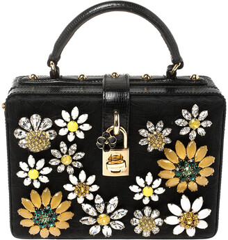 Dolce & Gabbana Black Lizard Embossed Leather and Fabric Crystal Embellished Dolce Box Top Handle Bag