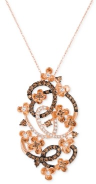 LeVian Le Vian Crazy Collection Diamond Fancy Scroll Floral Pendant Necklace (1-1/5 ct. t.w.) in 14k Rose Gold