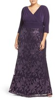 Adrianna Papell Plus Size Women's Jersey & Sequin Lace Gown