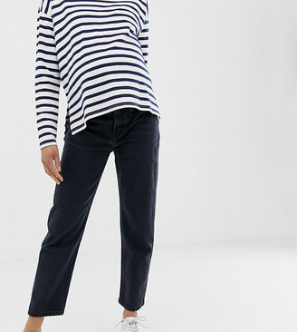 Asos DESIGN Maternity Recycled Florence authentic straight leg jeans in washed black with side bump bands