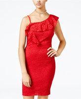 Sequin Hearts Juniors' One-Shoulder Glitter Lace Bodycon Dress