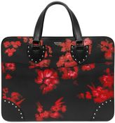 Hand-Painted Flowers Leather Briefcase