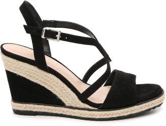 Kelly & Katie Women's Inidia Espadrille Wedges Sandals Black Size 5 Faux Suede From Sole Society