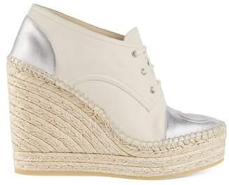 Gucci Leather Lace-Up Platform Espadrilles