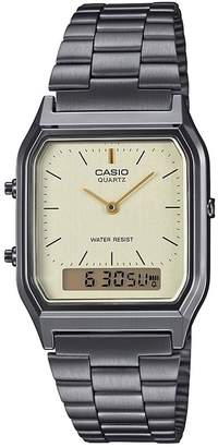 Casio Retro Champagne Digital and Analogue Dial Gunmetal Grey Stainless Steel Bracelet Watch