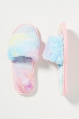 Leila Tie-Dye Faux Fur Slippers By Casa Clara in Assorted Size S